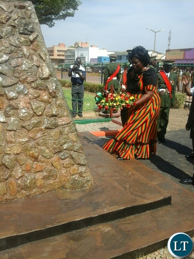 Tourism minister Jean kapata laying wreaths and observing a parade during the independence celebrations in kabwe. Pictures by SYLVIA MWEETWA