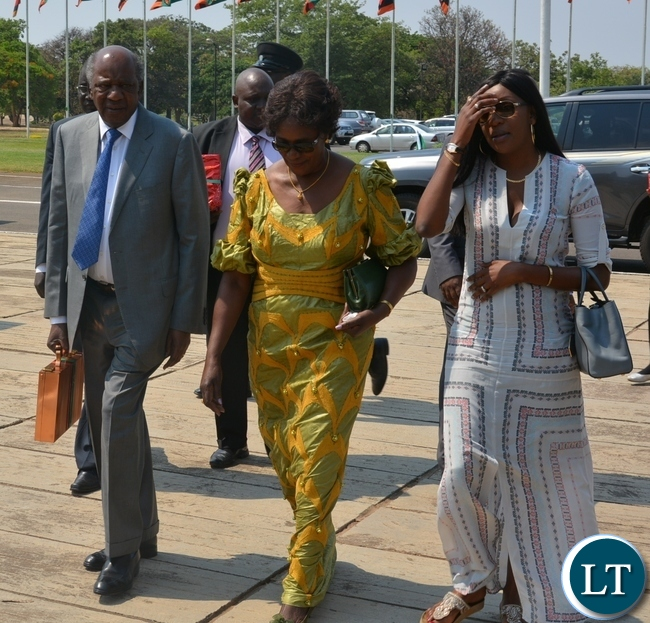Finance Minister Alexander Chikwanda with wife Margaret on arrival at Parliament Building yesterday before presentation of the 2016 National Budget.