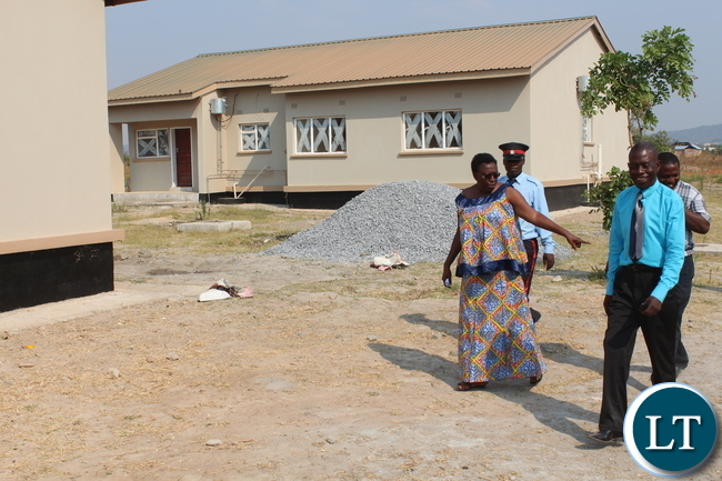 Central Province P.S. Edwidge Mutale(l) inspecting phase 2 construction of Mkushi District Hospital. by Chiza Muzia, ZANIS.