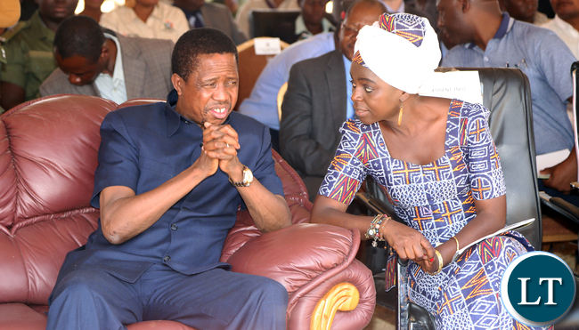 FILE: President Edgar Lungu with Dr Evely Nguleka ZNFU President  duringthe  Launched the Electronic Voucher System for the Farmer input Programme in Choma Mbabala constituency on Monday 12-10-2015. Picture  by Eddie Mwanaleza/ Statehouse.