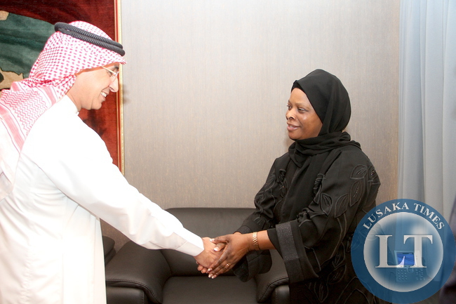 First Lady Esther Lungu being welcomed by Department for Saudi Funds Engineer Ibrahim Al Turki on arrival at Saudi Funds offices for a meeting on the assistance to Women and Children in Zambia in Riyadh, Saudi Arabia on Wednesday,October 14,2015 -Picture by THOMAS NSAMA