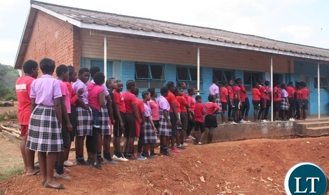 Ministry of Health in partnership with Orbis through the sponsorship of Standard Chartered Bank under its seeing is believing Initiative (Sib) is administering mass eye drugs to the communities in Kasempa to eliminate Trachoma. Above, school pupils at Mukinge Girls secondary school queuing up to receive the eye drug in Kasempa