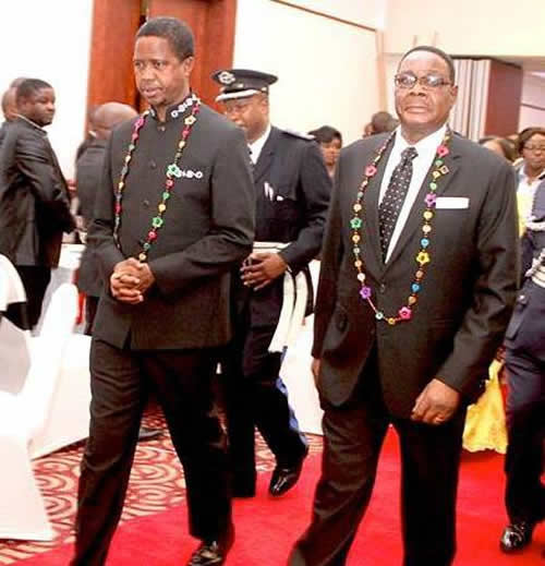 President Lungu (L) and PResident Mutharika (R)
