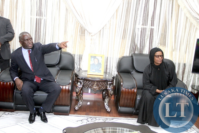 First Lady Esther Lungu when she paid a courtesy call on Zambia's Ambassador to Saudi Arabia Ibrahim Mumba at the Embassy in Riyadh, Kingdom of Saudi Arabia on Monday, October 12,2015 -Picture by THOMAS NSAMA