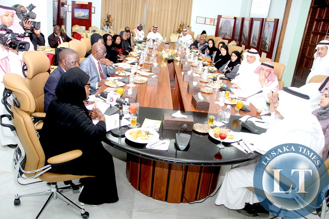 First Lady Esther Lungu (L) during a meeting with International Islamic relief Organisation secretary General Ehssan Tayieb (R) on Women Empowerment Programms and assistance to the vulnerable and many other charitable work. This was in Jeddah on Saturday, October 17,2015 -Picture by THOMAS NSAMA