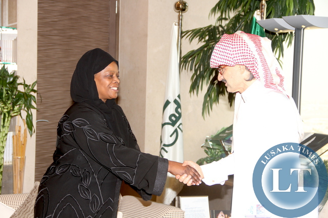 First Lady Esther Lungu bids farewell to Prince Al Waleed after she paid a courtesy call on him at Kingdom Tower in Riyadh, Saudi Arabia . The First Lady and Prince Al Waleed discussed possible assistance in Women and Children programs in Zambia