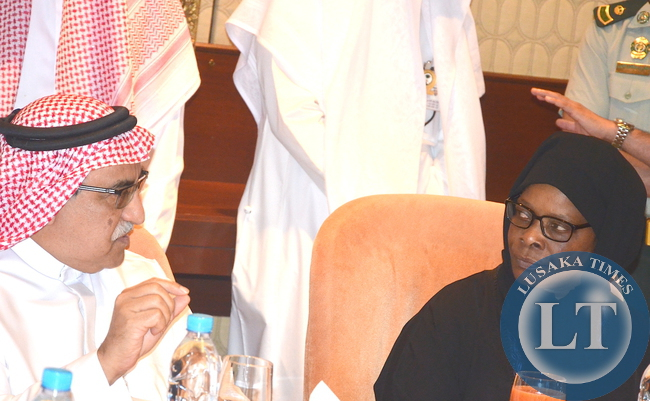 First Lady Esther Lungu listens to King Faisal Specialist Hospital and research Centre Chief Operating Officer Professor Rashed S. Al Rashed Al Hmaid during a tour of King Faisal Specialist Hospital and Research in Riyadh,Saudi Arabia on Tuesday,October 13,2015 -Picture by THOMAS NSAMA