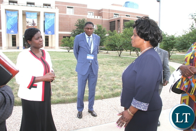 First Lady Esther Lungu talks to Livingstone based Nurse Joyce Mapani after the closing ceremony of the Global Women's Network Summit at George W. Bush Presidential centre in Dallas, Texas on Tuesday, September 22,2015 -Picture by THOMAS NSAMA