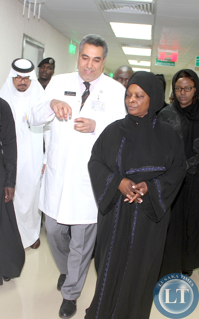 First Lady Esther Lungu listens to King Faisal Specialist Hospital and research Centre Head section of Nuclear medicine Radiology Department Abdulaziz Saleh Al- Sugair during a tour of King Faisal Specialist Hospital and Research in Riyadh,Saudi Arabia on Tuesday, October 13,2015 -Picture by THOMAS NSAMA