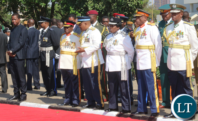 President Lungu and Service Chiefs waiting for King Mswati.