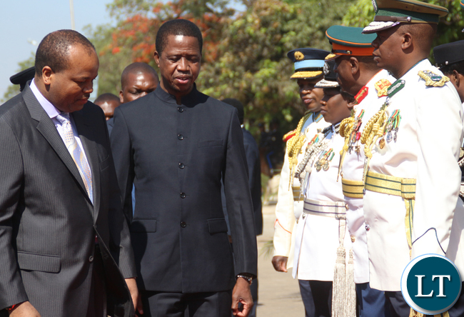 President Lungu and King Mswati passing in front of Service Chiefs.