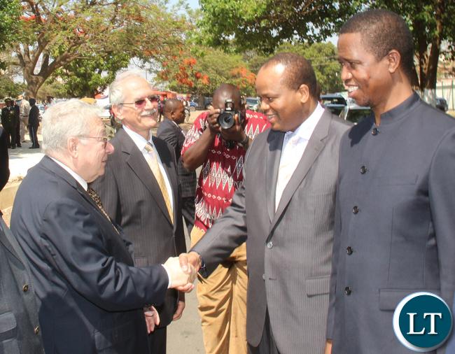 President Lungu and King Mswati greeting Hungary honorary consul Gaudenzio Rossi