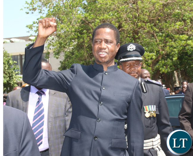 President Lungu greetings people and laying wreaths.