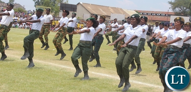 Defence and security staff demonstrating during this year's Independence celebration in Kabwe