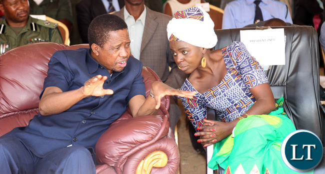 President Edgar Lungu with Dr Evelyn Nguleka ZNFU President during the Launched the Electronic Voucher System for the Farmer input Programme in Choma Mbabala constituency on Monday 12-10-2015. Picture by Eddie Mwanaleza/ Statehouse.