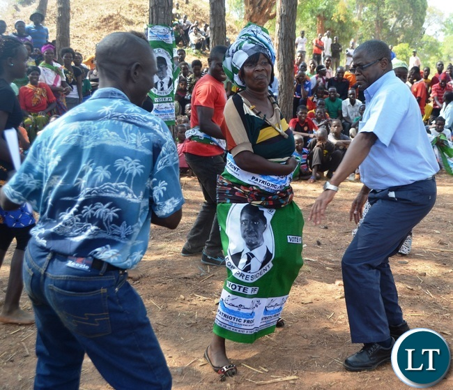 MALOLE MP Christopher Yaluma joins PF dancers at Rosa Mission in Mungwi District.Picture by KENNEDY MUPESENI