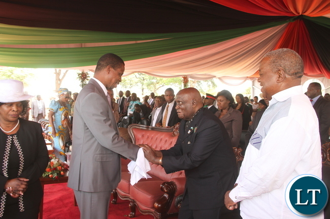President Lungu with First Lady Esther Lungu, First Republican President Dr Kenneth Kaunda, former President Rupiah Banda during the Ground breaking ceremony for the New Cathedral and Interdenominational Thanks Giving Church Service at woodlands forest Reverse in Lusaka on Sunday, October 25,2015 -Pictures by THOMAS NSAMA