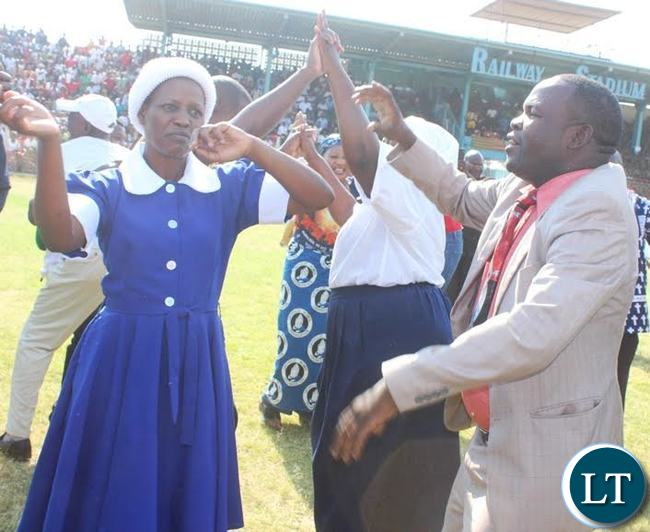 Transport and Communications deputy Minister James Kapyanga with his wife during the National day of prayers at Godfrey Chitalu stadium in Kabwe