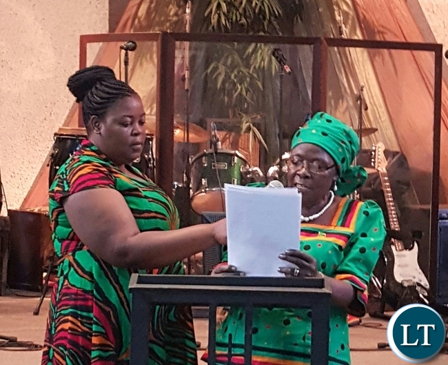 Zambia's High Commissioner to Malawi Mrs. Salome Mwananshiku delivering her address during the National Day of Repentance, Prayer and Fasting at Capital City Baptist Church where Zambians living in Lilongwe, Malawi gathered. Picture Courtesy of Zambia High Commission.