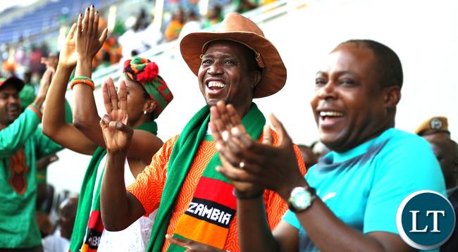 President Lungu Celebrates Thrird Goal
