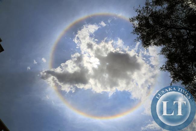 Rainbow around the sun seen in Lusaka