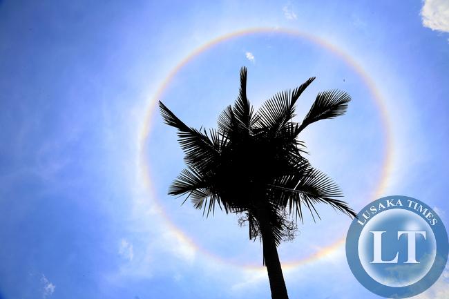 Rainbow seen around the sun in Lusaka