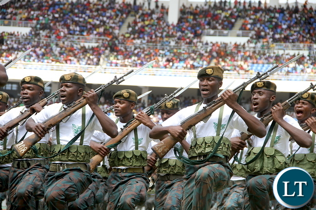 Zambia National service  salutes President Lungu and King Mswati of Swaziland during Zambia's 51st Independence anniversary  Celebrations at Heroes Stadium in Lusaka on Saturday, October 24,2015 -Pictures by THOMAS NSAMA