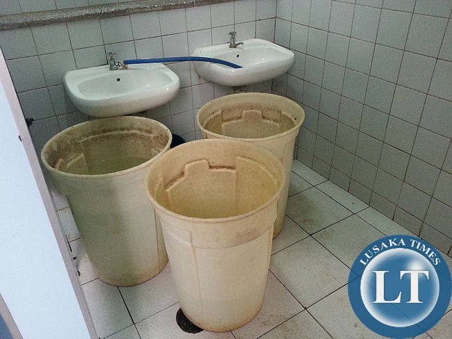 Buckets containing water in the Paediatric ward