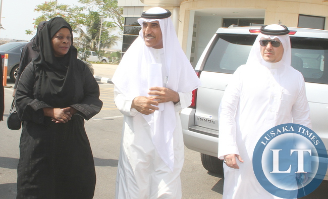 First Lady Esther Lungu (L) flanked by King Abdullah University of Science and Technology vice president, Government Affairs Sulaiman Al- Thunayan (C) on arrival the King Abdullah University for Science and Technology in Jeddah, Saudi Arabia for a meeting with the University Authorities on the scholarship for Zambian's on Saturday, October 17,2015 -Picture by THOMAS NSAMA