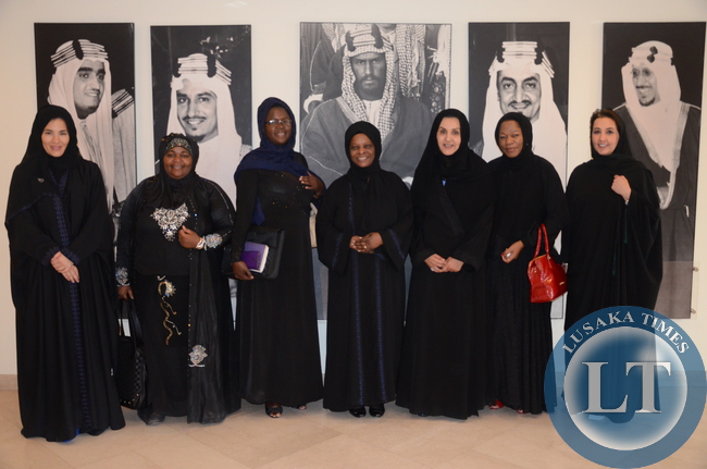 First Lady Esther Lungu after a meeting with Business women at Interhealth Canada Riyadh in Saudi Arabia on October 15,2015