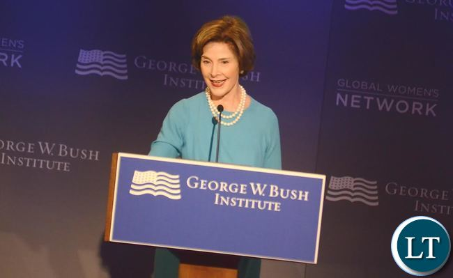 Former First Lady Laura Bush during the official  opening of the Global Women's network Summit in Dallas, Texax on Tuesday, September 22,2015 -Picture by THOMAS NSAMA