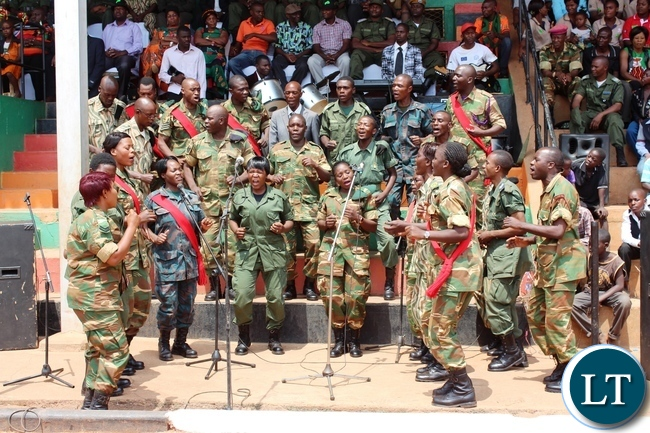 MEMBERS of the Defense forces perform a song during the 51st Independence celebrations held at David Kaunda stadium in Chipata