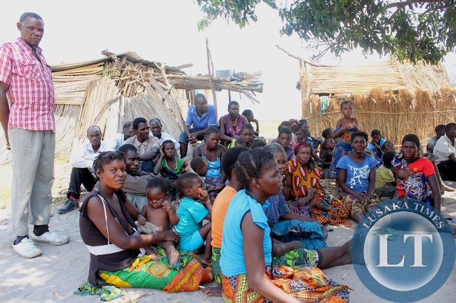 Victims of Imuba Village of Katongo Lower area in Mongu wait to be addressed by Government whose entire village was burnt to ashes on Sunday, October 18, 2015.