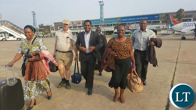 HH with Maureen Mwanawasa at KKIA