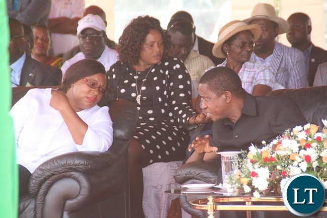President Edgar Lungu conferring with Minister of Energy Dora Siliya