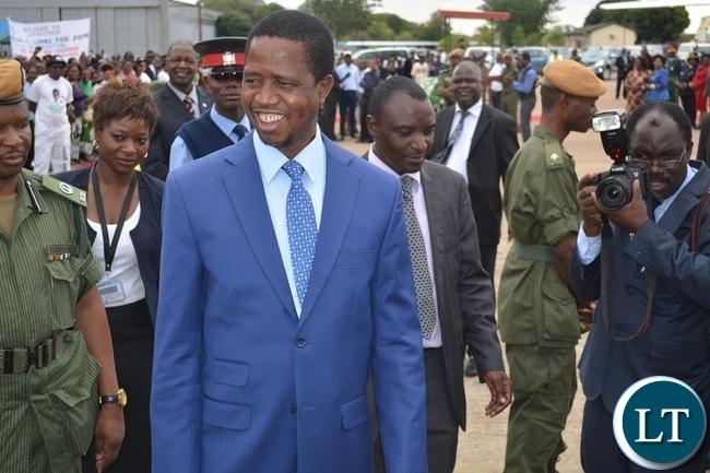 President Lungu on arrival in Livingston