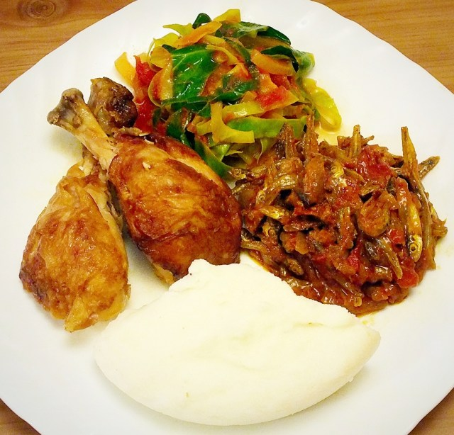Nshima kapenta chicken and cabbage