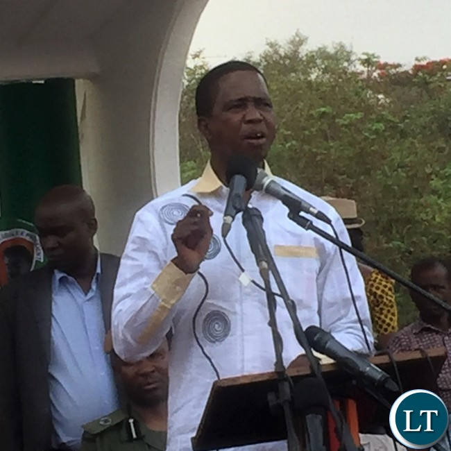 President Lungu stresses a point at a Youth Rally at Freedom Park