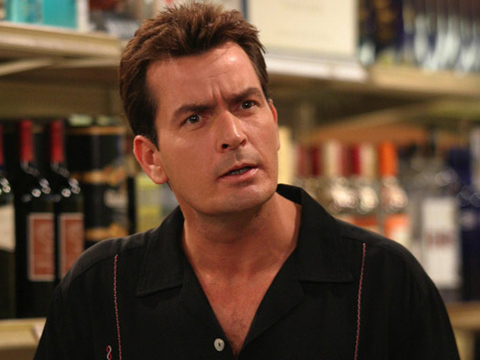 """caption: """"Phase One"""" -- Charlie Sheen stars as Charlie Harper on TWO AND A HALF MEN, Mondays (9:30-10:00 PM, ET/PT) on the CBS Television Network.   Photo: Justin Lubin/Warner Brothers  2003  WARNER BROTHERS INC. ALL RIGHTS RESERVED copyright:  [PNG Merlin Archive]"""