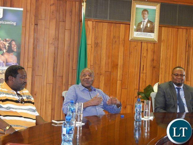 Dr. Vernon Mwaanga speaks to diplomatic staff and members of the Zambia South Africa Business Council
