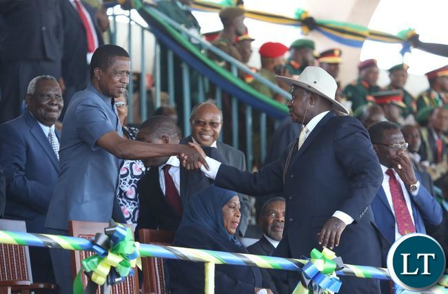 President Edgar Lungu shakes hands with Ugandan President Yoweri Kaguta Museveni during the Inauguration ceremony of newly elected Tanzanian President Dr John Pombe Magufuli at Uhuru stadium in Dar es salaam, Tanzania.