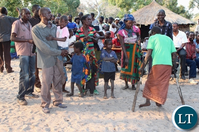 Lwatembo area Spastic Paralysis (Konzo) disease victims at Lwatembo Primary School to get relief maize bags from the government in Mongu