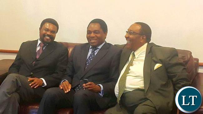 Canisius Banda (left) Hakainde Hichilema (center) Geoffrey Mwamba (right)