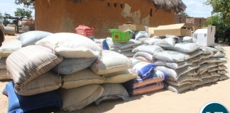 Ms. Nawakwi handing over farming inputs in Chibombo.