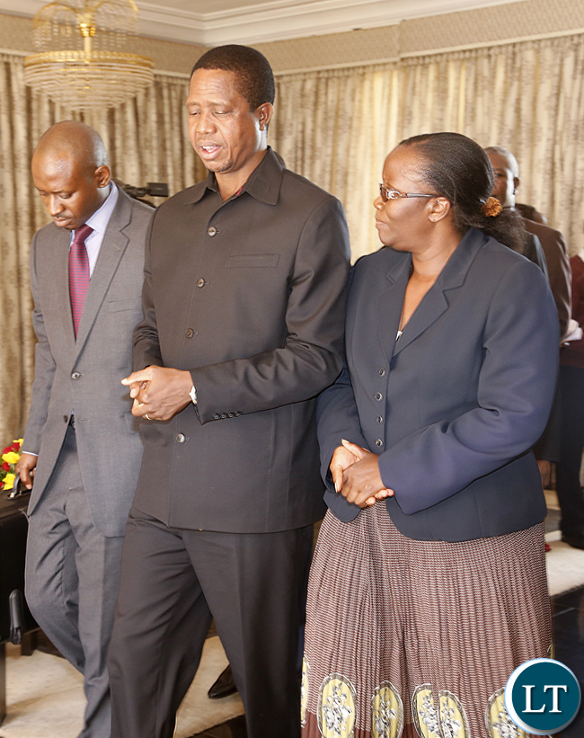President Edgar Lungu with Madam Doris Mwinga clerck of the National assembly after she Presanted the Constitution Amendment bill that was passed by parliament last week. President Edgar Lungu reiterating that he would assent to the document in the first week of January, next year. PICTURE BY EDDIE MWANALEZA/STATEHOUSE . 23-12-2015