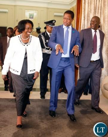 President Lungu with Vice President Mrs Wina and Home affiars Minister Davies Mwila
