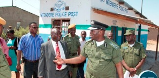 Inspector General of Police Kakoma Kanganja inspects Mtendere Police Post in Chawama Compound Kafue that was damaged by people in the area