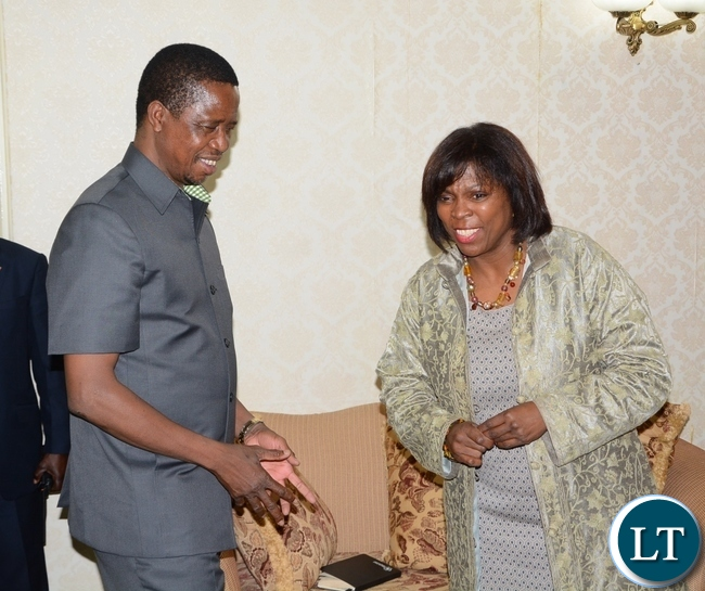 President Edgar Lungu chats with World Food Programme Executive Director Ertharin Cousin at State House during a courtesy call