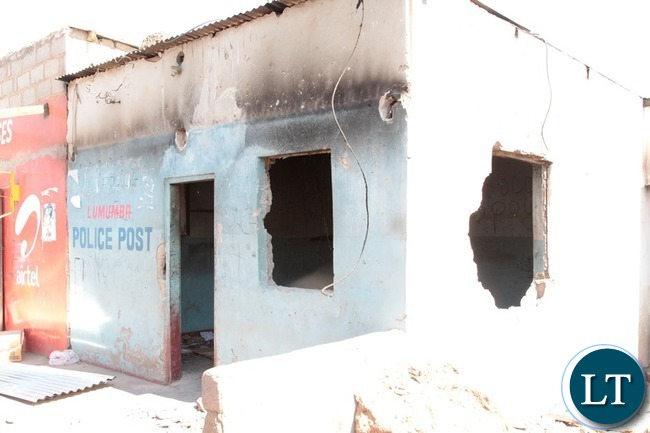 Lumumba Police Post in Chawama Compound Kafue that was burnt by People.