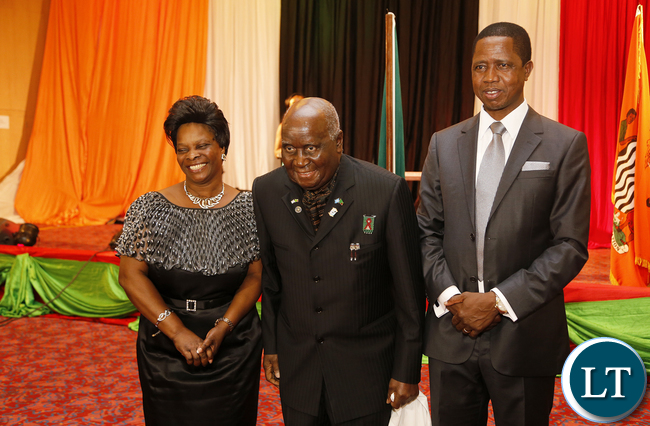 Dr Kenneth D Kaunda with President Lungu